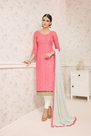 Delusive Peach Chanderi cotton Heavy Embroiery Dress Material