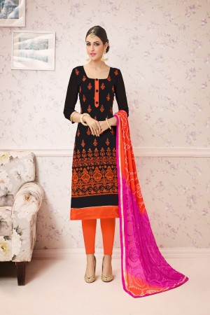 Immaculate Black Chanderi cotton Heavy Embroiery Dress Material