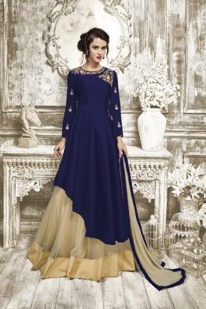Fabulous Blue Tapeta Silk With Heavy Emboridery Anarkali Salwar Suit