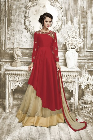 Enthralling Red Tapeta Silk With Heavy Emboridery Anarkali Salwar Suit