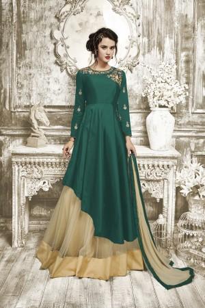 Captivating Green Tapeta Silk With Heavy Emboridery Anarkali Salwar Suit
