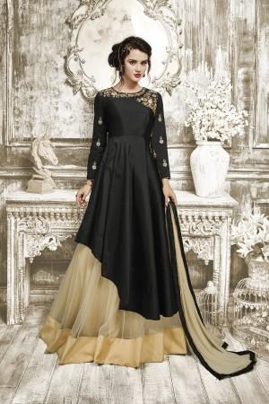 Stunning Black Tapeta Silk With Heavy Emboridery Anarkali Salwar Suit
