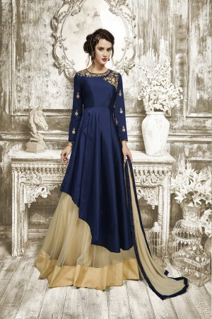 Refreshing Navy Blue Tapeta Silk  With Heavy Emboridery Anarkali Salwar Suit