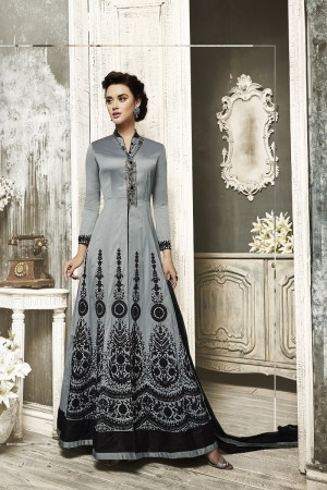 Royal Grey Tapeta Silk  With Heavy Emboridery Anarkali Salwar Suit