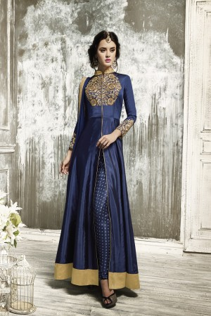 Gorgeous Dark Blue Tapeta Silk  With Heavy Emboridery Anarkali Salwar Suit
