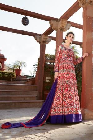 Glitzy Multicolor japan satin printed Anarkali Gown