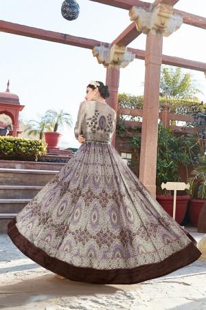 Ethnic Multicolor japan satin printed Anarkali Gown