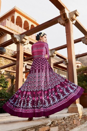 Engrossing Multicolor japan satin printed  Anarkali Gown