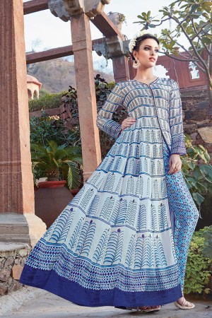 Ambitious Multicolor japan satin printed Anarkali Gown