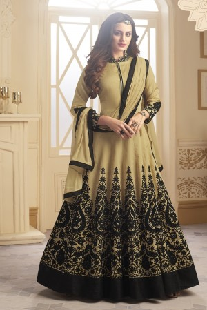 Dreamy Beige Tapeta Silk  With Emboridery And Handwork Anarkali Salwar Suit