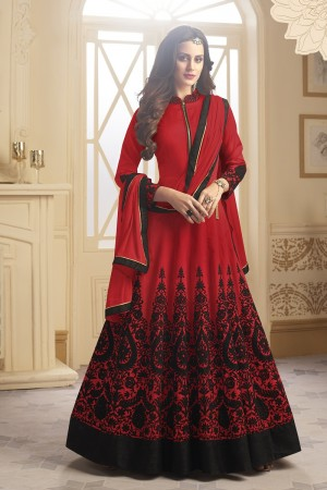 Divine Red Tapeta Silk  With Emboridery And Handwork Anarkali Salwar Suit
