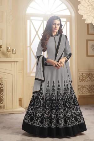 Classic Grey Tapeta Silk  With Emboridery And Handwork Anarkali Salwar Suit