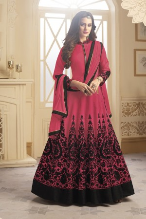 Classy Pink Tapeta Silk  With Emboridery And Handwork Anarkali Salwar Suit