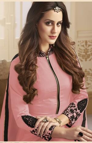 Designer Peach Tapeta Silk  With Emboridery And Handwork Anarkali Salwar Suit