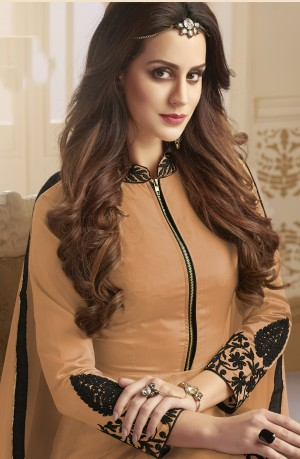 Alluring Orange Tapeta Silk  With Emboridery And Handwork Anarkali Salwar Suit