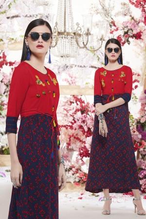 Royal Red Reyon print with embroidery Kurti