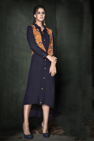Captivating Navy blue Reyon with print cotti Kurti