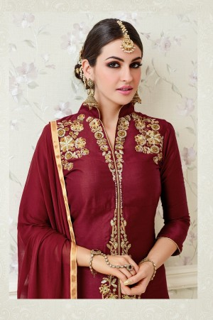 Stupendous Maroon Glass Cotton  Heavy Embroidery salwar Kameez