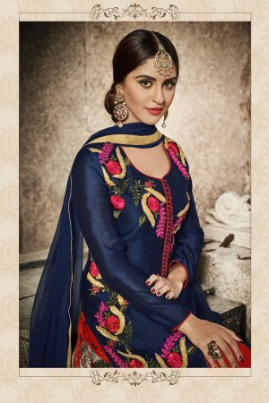 krystle dsouza Navy Blue Glass Cotton  Heavy Embroidery  salwar Kameez