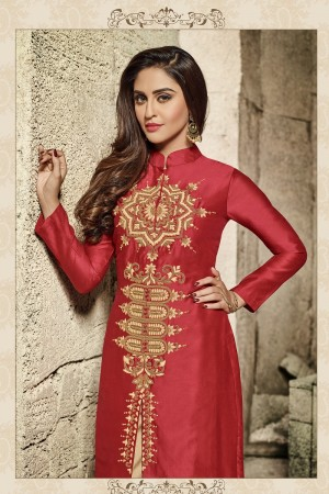 krystle dsouza Red Glass Cotton  Heavy Embroidery  salwar Kameez