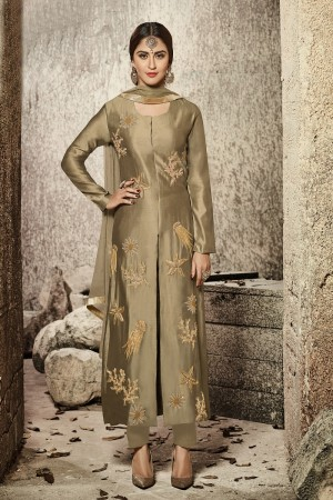 krystle dsouza Golden  Glass Cotton  Heavy Embroidery salwar Kameez