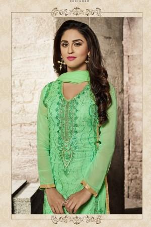 krystle dsouza Parrot_green Glass Cotton  Heavy Embroidery salwar Kameez