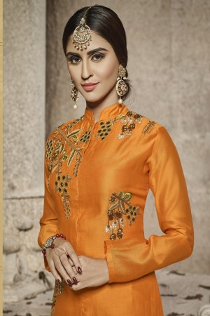 krystle dsouza Orange Glass Cotton Heavy Embroidery salwar Kameez