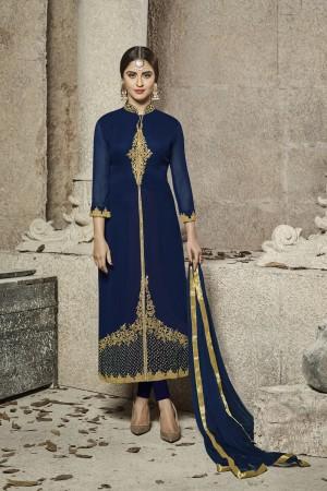 krystle dsouza Navy Blue Glass Cotton Heavy Embroidery  salwar Kameez