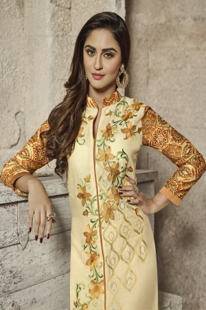 krystle dsouza Cream Glass Cotton Heavy Embroidery salwar Kameez