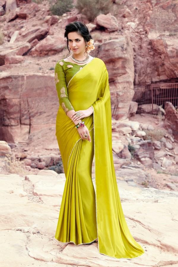 5f30fbab17070 Buy Designer Lemon Green Satin Silk Plain satin silk saree with emroidered Blouse  Saree