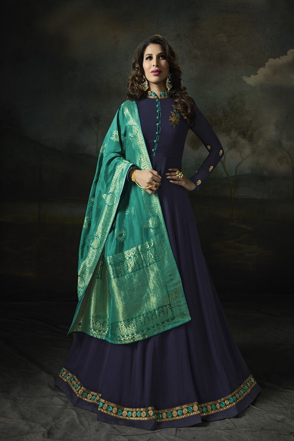 66411d8e00 Buy Sophie Choudry Blue Georgette Heavy Embridery Zari Work on Neck &  Sleeve with Lace Border Salwar Kameez