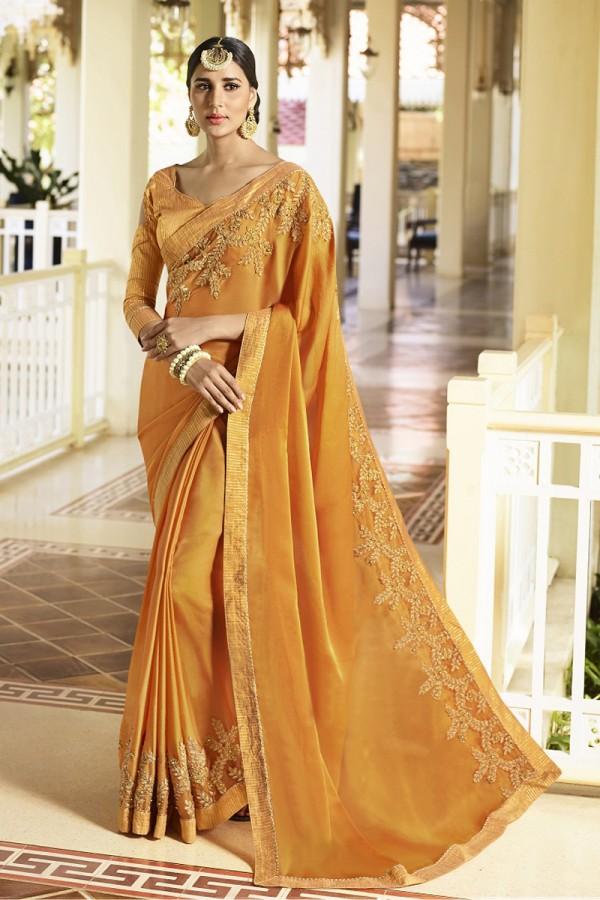0f130602400377 Buy Modish Mustard Fancy Fabric Plain Saree with embroidery Lace Border  Saree
