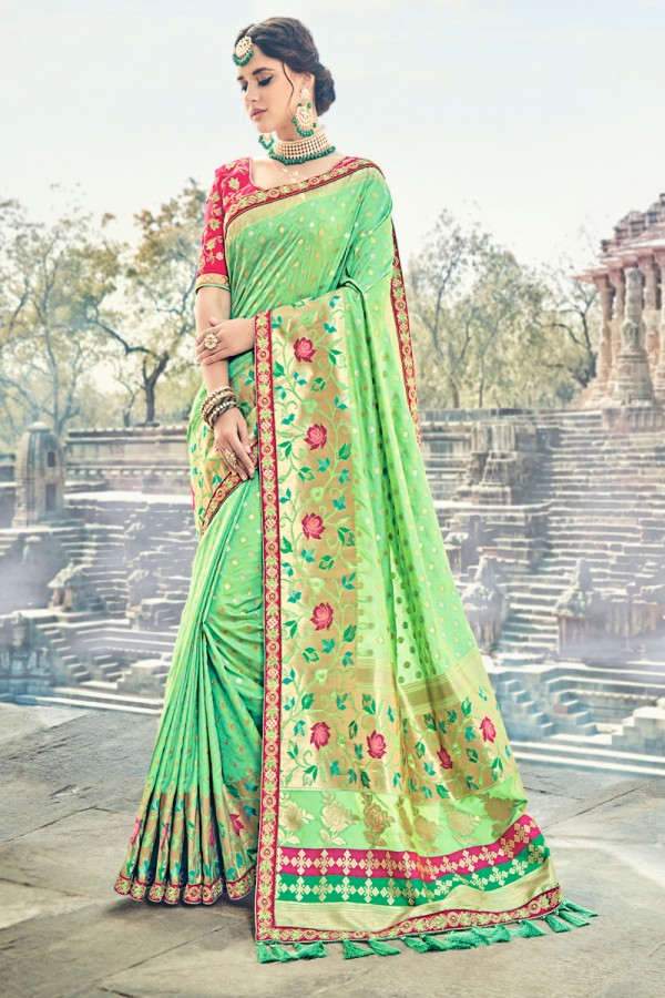617dfc8010031 Buy Green Jacquard Silk Embroidered Saree