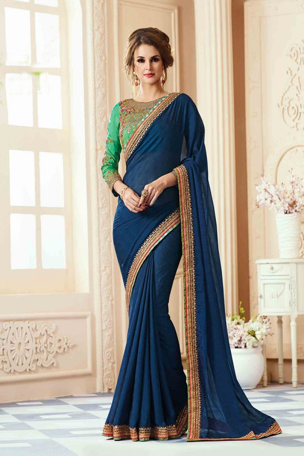 Buy Beautiful Dark Blue Georgette Heavy Embroidery Blouse ...