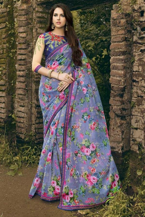 f4639afa22 Buy Enchanting Violet Rajjo Net Print with Lace Border Saree